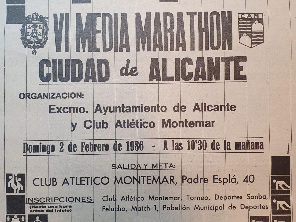 Cartel VI Media Maratón Alicante 1986